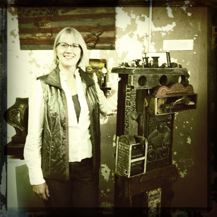 "Satch with her new work, ""James Spencer Russell (an homage)"""